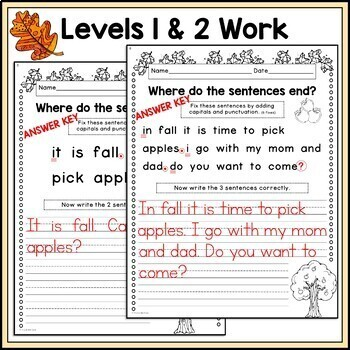 Fall Writing, Punctuation, and Capitalization; Where do the sentences end?