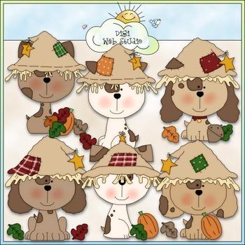 Fall Puppies Clip Art - Fall Clip Art - Autumn Clip Art - CU Clip Art & B&W