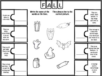 Fall Puzzles (basic vocabulary practice)