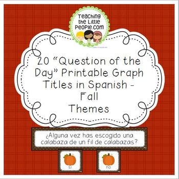"Fall ""Question of the Day"" Graph Printables in Spanish - 2"
