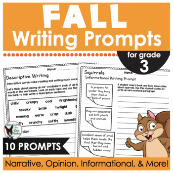 Fall Quick Writes- 10 Prompts Ready to Print and Write for 3rd Grade