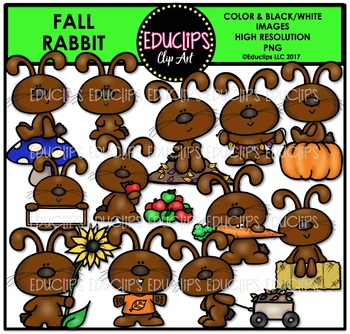 Fall Rabbit Clip Art Bundle {Educlips Clipart}