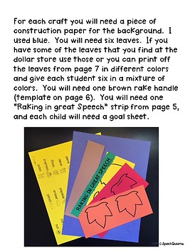 Fall Raking Leaves Speech Craftivity {language & articulation craft}