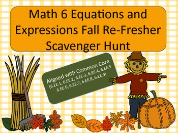 Fall ReFresher: Equations and Expressions Scavenger Hunt