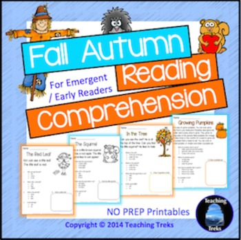 1 Fall Activities: Fall Reading Comprehension Worksheets