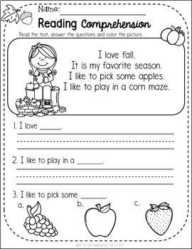 Kindergarten Reading Comprehension Passages - Fall