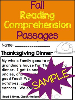 Fall Reading Comprehension Passages SAMPLE