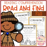 Fall Reading Comprehension - Read and Find