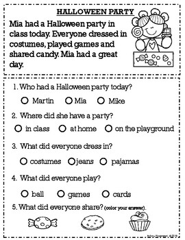 Fall Reading Comprehension Worksheets