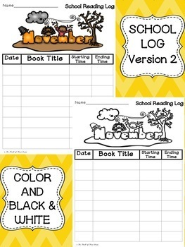 Fall Reading Logs Pack--Back to School--Halloween--Thanksgiving--Veteran's Day