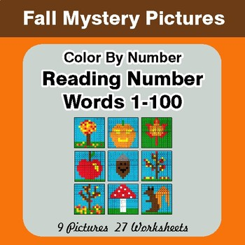 Fall: Reading Number Words 1-100 - Color By Number - Autumn Mystery Pictures
