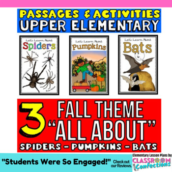Fall Activities: Fall Reading Comprehension: Bats, Spiders, Pumpkins Passages