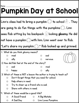 Fall Reading Passages and Graphic Organizers