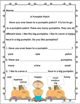Fall October Reading Passages and Comprehension First Grade