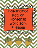 Fall Real/Nonsense Word Sort Freebie (RF.K.2, RF.1.2)