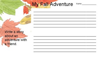 Fall Recount Planning and Writing Sheet.