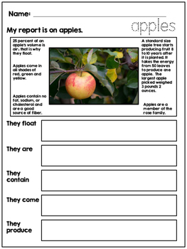 First Grade Autumn Writing - Reports