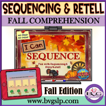 BOOM CARDS Sequencing and Story Retell Fall Edition - Teletherapy