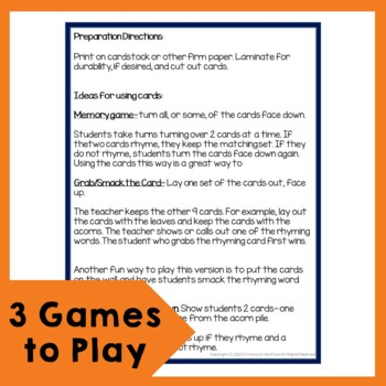 Rhyming Games and Activities with a Fall Theme