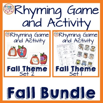 Fall Rhyming Cards Sets 1 and 2 Bundle