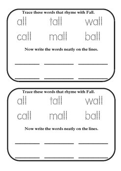 Fall Rhyming Words Seasonal Activity Book all words for the Juniors