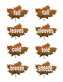 Fall Rhyming Words Sorts