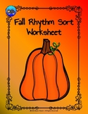 Fall Rhythm Sort Worksheet Color/BW - Quarter Notes and Eighth Notes