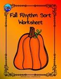 Fall Rhythm Sort Worksheet Color/BW - Quarter Notes and Ei