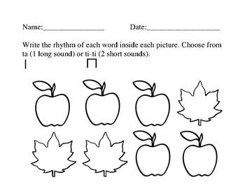 Fall Rhythm Symbol Worksheet