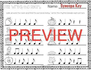 Fall Rhythm Write the Room {Syncopa}