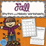 Fall Music Rhythm and Melody Worksheets (Distance Learning)