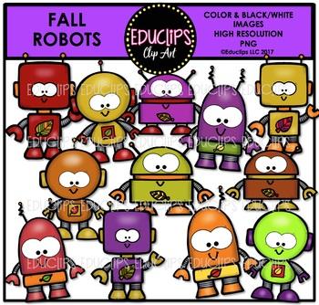 Fall Robots Clip Art Bundle {Educlips Clipart}