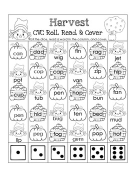 Fall CVC Roll, Read, and Cover Pack