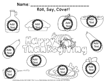 Fall Roll, Say, Cover EDITABLE Workmats, Spinners & Dice PLUS 8 BONUS Sets!