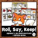 Fall Roll, Say, Keep: Editable, Alphabet, and Dolch Sight Words