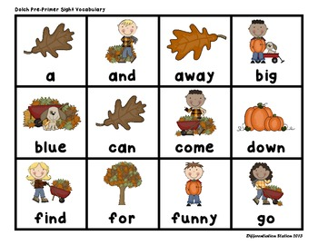 "Fall ""Roll, Say, Keep!""Pre-Primer Dolch Sight Word Center + Printables,Word Wall"