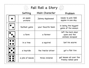 Fall Roll a Story Freebie