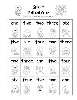 Fall Roll and Color Number Word One-Six