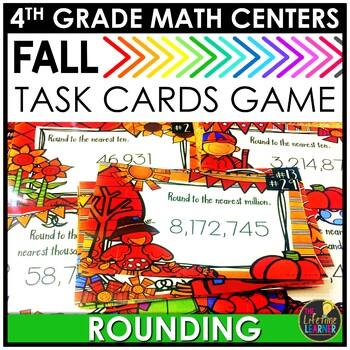 Fall Rounding Task Cards September Math Center