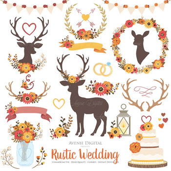 Fall Rustic Wedding Clipart - Autumn Deer and Flower Wreaths Graphics