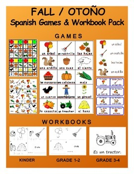 Fall SPANISH Games & Workbook Package