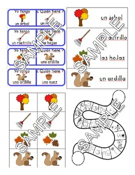 Fall SPANISH Games and Worksheets Pack