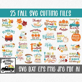 Fall SVG Cut file Bundle - 25 Autumn Images - Clip Art & More!