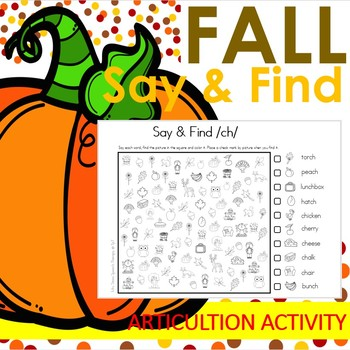 Fall Say & Find Print and Go Articulation Activity