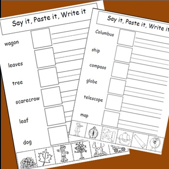 Fall Activities, Cut and Paste Writing Activities, Say It, Paste It, Write It