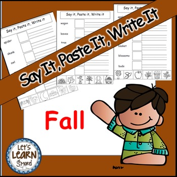 Fall Activities, Cut and Paste Writing Activities, Say It,