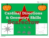 Fall Scarecrow - Cardinal (Map) Directions and Geometry (Lines and Angles)
