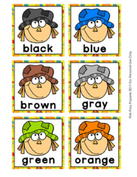 Fall Scarecrow Color Clip Cards and Memory Game