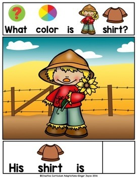 Fall Scarecrow Colors -Adapted Book (PreK-2/ELL/Autism/SPED)