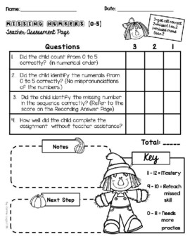 Fall Scarecrow (Level 2) Missing Numbers (0-5)